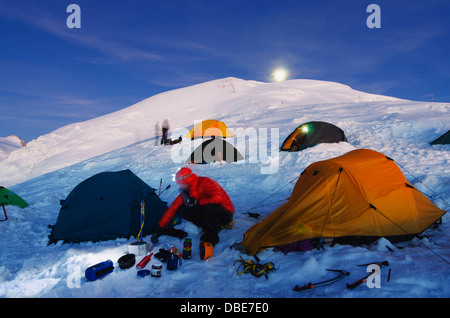 full moon, tents on Mt Blanc, French Alps, Haute-Savoie, France, Europe - Stock Photo