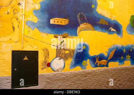 Funchal Old Town (Zona Velha), painted wall by local artist, Madeira Island, Portugal - Stock Photo