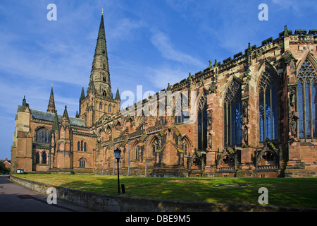 Exterior of Lichfield Cathedral, Lichfileld, Staffordshire, England, UK - Stock Photo