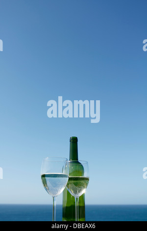 Glasses of wine by the ocean - Stock Photo