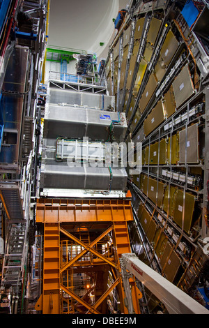 End Cap Toroid and Large Muon Wheel of the ATLAS Detector at CERN - Stock Photo