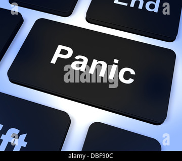 Panic Computer Key Showing Anxiety Stress And Hysteria - Stock Photo