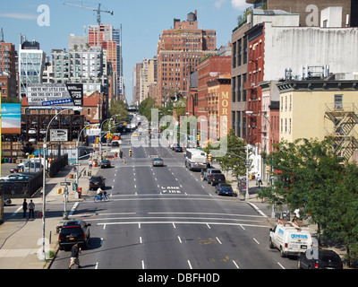 West Side of Manhattan New York City as viewed from the High Line Park - Stock Photo