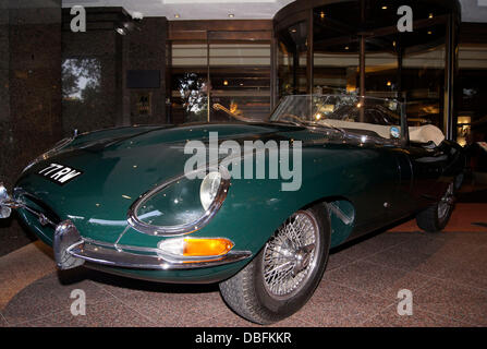 Worlds oldest Jaguar E Type 77 RW at the 50th Anniversay party of the Jumeirah Carlton Tower Hotel in Knightsbridge - Stock Photo