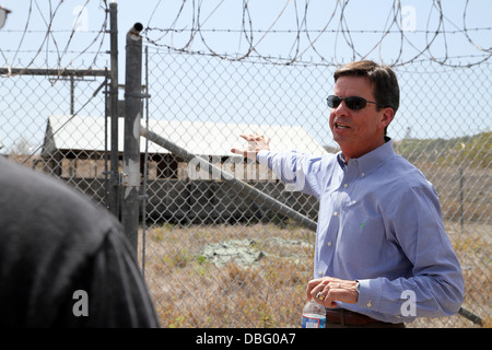Former Guantanamo Bay prison commander, Ret. Col. Terry Carrico, tours what now remains of Camp X-Ray, July 26, - Stock Photo