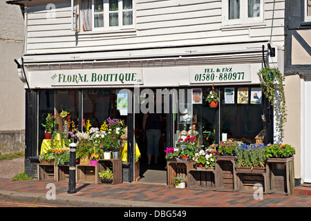 A florest shop in an english village - Stock Photo
