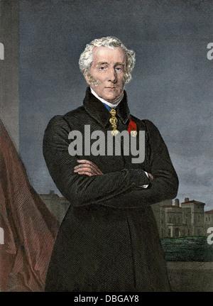Arthur Wellesley, Duke of Wellington, who defeated Napoleon at Waterloo. Hand-colored steel engraving - Stock Photo