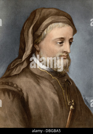 Geoffrey Chaucer. Hand-colored photogravure of a painting - Stock Photo