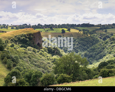 view of thors cave, manifold valley a peak district tourist attraction - Stock Photo