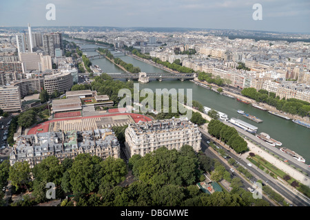 View from the Eiffel Tower looking along the Ile des Cygnes & the River Seine in Paris, France. - Stock Photo