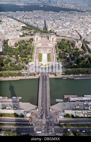 View from the Eiffel Tower looking over the Pont d'Iéna & the River Seine towards the Jardins du Trocadéro, Paris, - Stock Photo