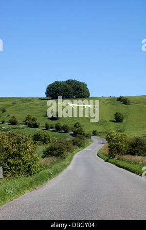 The Hackpen White Horse near Broad Hinton Wiltshire - Stock Photo