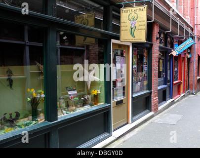 Fan Tan Alley. Victoria, Vancouver Island, British Columbia, Canada - - Stock Photo