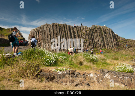 Visitors at the Giants Causeway, Northern Ireland. - Stock Photo