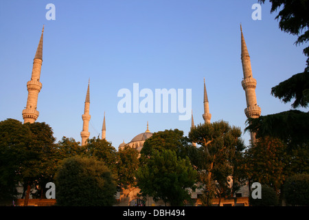 Historical Blue Mosque during sunset in Istanbul,Turkey - Stock Photo