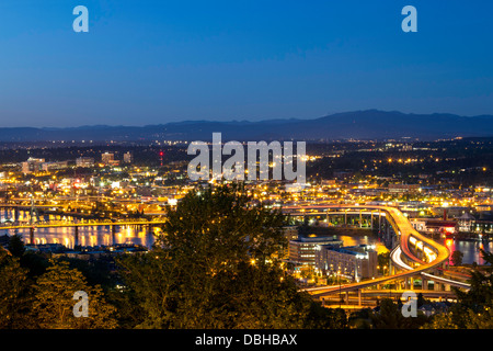 Busy Freeway in Portland, Oregon, USA - Stock Photo