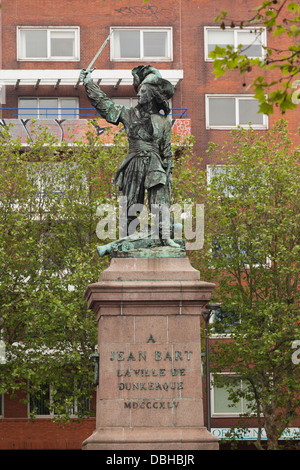 France, Nord, French Flanders, Dunkerque, statue of privateer Jean Bart. - Stock Photo