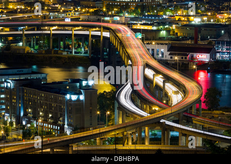 Busy Freeway in Portland, Oregon, USA - Stock Photo