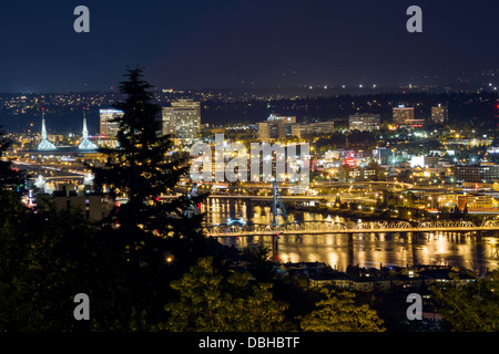 Skyline view of Portland, Oregon, USA - Stock Photo