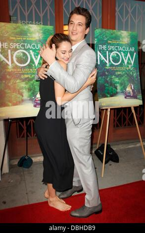 Los Angeles, CA, USA. 30th July, 2013. Shailene Woodley, Miles Teller at arrivals for THE SPECTACULAR NOW Premiere, - Stock Photo