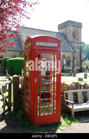 traditional phonebox in Snowshill, a lovely Cotswolds village in Gloucestershire UK - Stock Photo