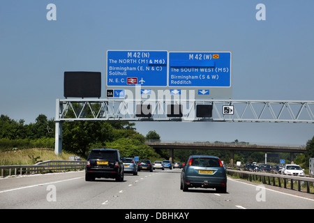road signs on an overhead gantry, nottingham, england