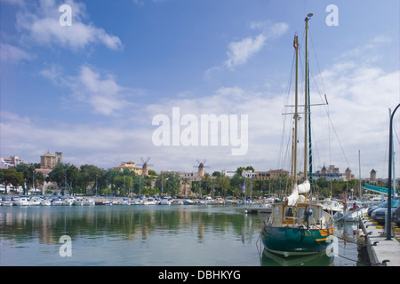 Windmills and boats in Palma de Mallorca - Stock Photo