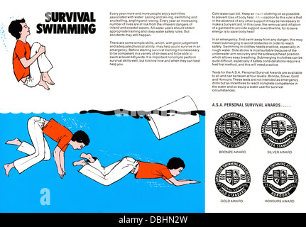 ASA Amateur Swimming Association Safety Advice, published by Bovril probably 1960s Survival Swimming - Stock Photo