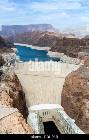 The Hoover Dam looking towards Lake Mead, Nevada / Arizona state line, USA - Stock Photo