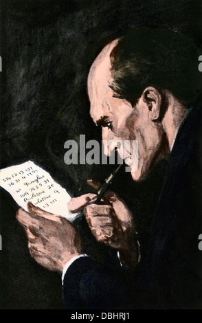 Sherlock Holmes solving a cipher, from an Arthur Conan Doyle story. Hand-colored halftone reproduction of an illustration - Stock Photo