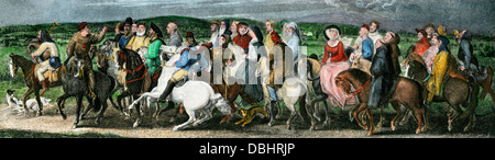 Pilgrims from a scene in Chaucer's Canterbury Tales. Hand-colored halftone reproduction of an illustration - Stock Photo