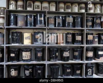 Colour glaze bottles from Longton Stoke-On-Trent Great Britain showing potteries heritage at the Gladstone Pottery - Stock Photo