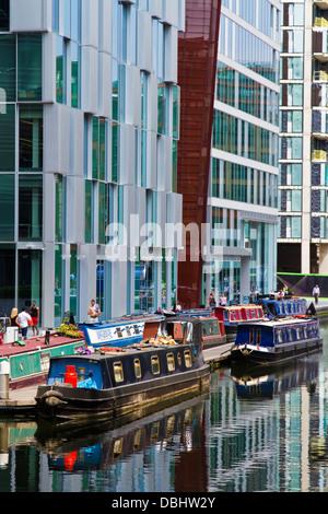 Paddington waterside development built on the old Paddington basin of the Grand Union canal in London - Stock Photo
