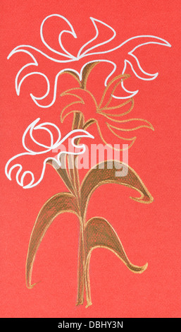 abstract flower ornament on orange paper drawn by gel pen - Stock Photo