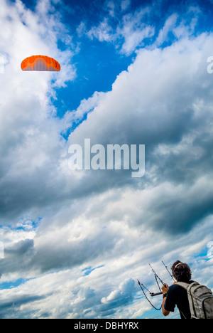 Kite flying, Scarborough, North Yorkshire, UK. - Stock Photo