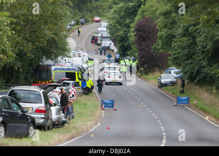 Balcombe, West Sussex, UK. 31st July, 2013. Protest site on the London Road against Cuadrilla drilling & fracking just outside the village of Balcombe in West Sussex. Balcombe, West Sussex, UK. Credit:  martyn wheatley/Alamy Live News