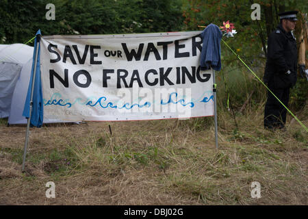 Balcombe, West Sussex, UK. 31st July, 2013. Banner reads 'Save our Water no fracking' Protest against Cuadrilla drilling & fracking just outside the village of Balcombe in West Sussex. Balcombe, West Sussex, UK. Credit:  martyn wheatley/Alamy Live News
