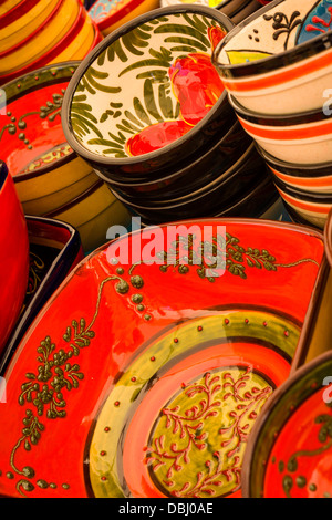 Traditional Spanish Terracotta Ceramics on sale at an outdoor market in Frigiliana, southern Spain. - Stock Photo