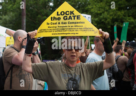 Balcombe, West Sussex, UK. 31st July, 2013. Woman holds aloft Lock the Gate placard. Protest against Cuadrilla drilling & fracking just outside the village of Balcombe in West Sussex. Balcombe, West Sussex, UK. Credit:  martyn wheatley/Alamy Live News