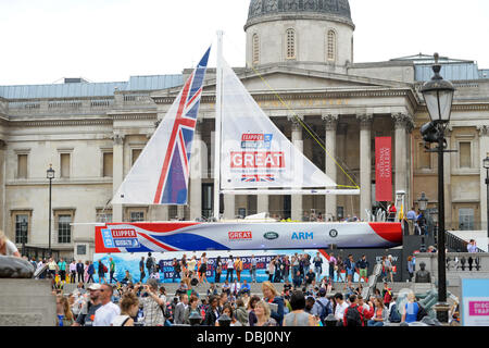 London, UK. Clipper Great Britain in Trafalgar Square London. The boat will compete in the 2013-14 Clipper Round - Stock Photo