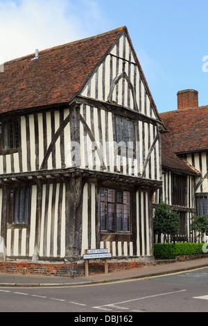 15th century timbered Wool Hall of Guild of our Lady, now part of Swan Hotel, in medieval village. Lavenham Suffolk - Stock Photo