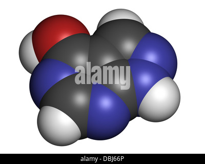 Allopurinol gout drug, chemical structure. Atoms are represented as spheres with conventional color coding - Stock Photo