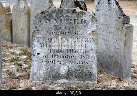 Old Headstones in Tasmania outside the Anglican Church at Pontville - Stock Photo