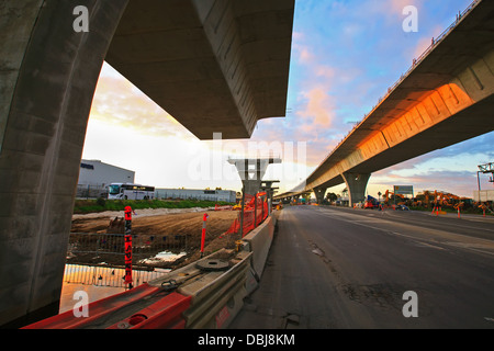 Construction of the South Road Superway in the northern suburbs of Adelaide South Australia - Stock Photo