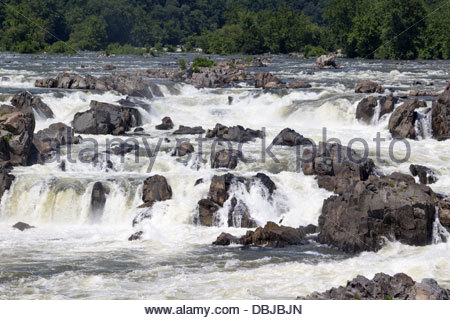 Great Falls of the Potomac viewed from the Virginia side - Stock Photo