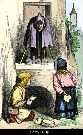 Hansel and Gretel, from Grimms' Fairy Tales. Hand-colored halftone reproduction of an illustration - Stock Photo