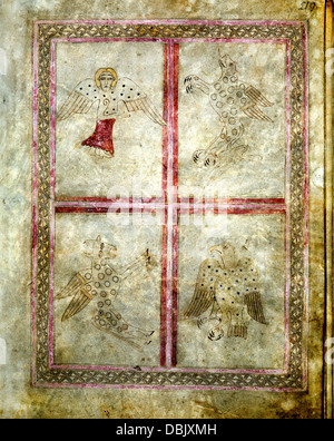 The Lichfield Gospels 720-30 AD, the Four Evangelists page 219 - Stock Photo
