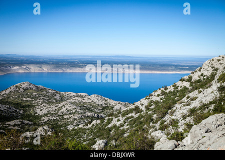 Croatia, Paklenica, View across Pag Island - Stock Photo