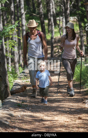 Croatia, Paklenica, Family with one child, hiking along mountain trail - Stock Photo