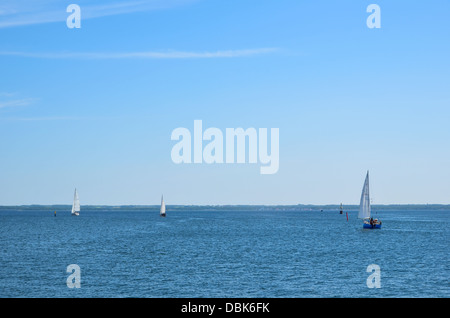 Sailing on the Baltic sea towards the island Oland in Sweden - Stock Photo